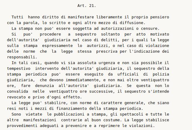 articolo 21 della costituzione italiana