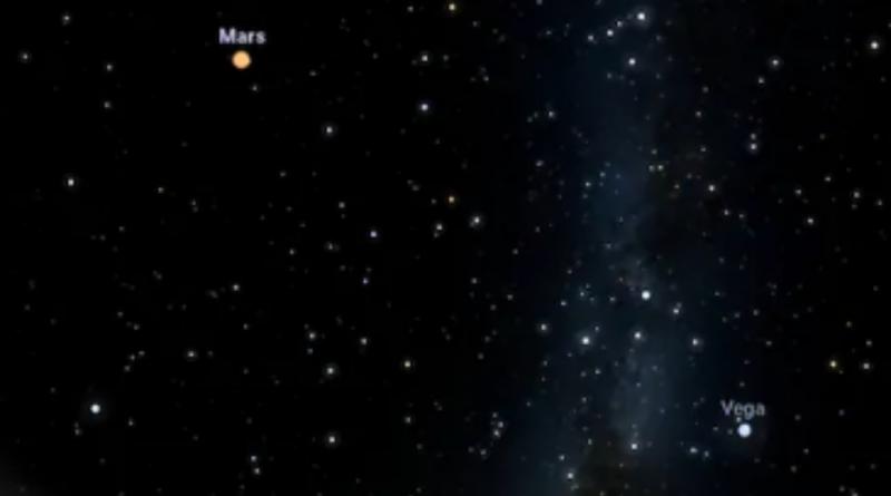 """Giove e Saturno sono apparsi sempre più vicini nel cielo notturno e il 21 dicembre sembreranno sovrapporsi come un """"doppio pianeta"""". (Stellarium)"""